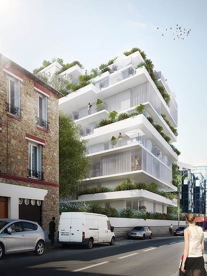 Harmonic masson associes issy les moulineaux stefano for Multi storey apartment modern design